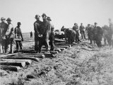 Track-Layers Gang-Building the Union Pacific Railroad Through American Wilderness, 1860S Photographic Print