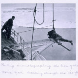 Ponting Cinematographing, Bow of 'Terra Nova'Breaking Through Ice Flows, Scott's Last Expedition Photographic Print by Herbert Ponting