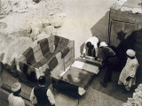 Moving the Centre Portion of One of the Beds, Tomb of Tutankhamun, Valley of the Kings, 1922 Photographic Print by Harry Burton