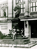 View of the Mendelssohn Statue in Front of the Gewandhaus in Leipzig Photographic Print