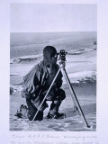 Lt. Evans Surveying with the 4 Inch Theodolite to Locate the South Pole, Scott's Last Expedition Photographic Print by Herbert Ponting