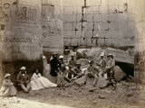 Group Photograph in the Hall of Columns, Karnak, Thebes, 1862 Photographic Print by Francis Bedford