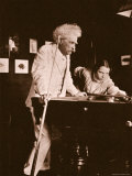 Mark Twain Playing Pool with the Daughter of His Biographer Albert Bigelow Paine Photographic Print by Albert Bigelow Paine