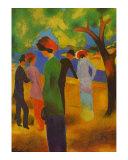 Dame in Gruner, Jacke Park Posters by Auguste Macke