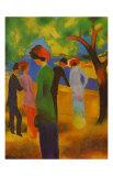 Dame in Gruner, Jacke Park Art by Auguste Macke