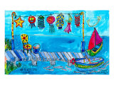 Summer Boat Dock Party Prints by Deborah Cavenaugh