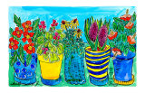 Potted Flower Garden Art by Deborah Cavenaugh