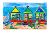 Seaside Row Houses Poster by Deborah Cavenaugh