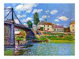 Brucke von Villeneuve La Garenne Bridge アート : アルフレッド・シスレー