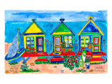Seaside Row Houses Print by Deborah Cavenaugh