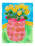 Vase of Yellow Roses Print by Deborah Cavenaugh