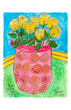 Vase of Yellow Roses Poster by Deborah Cavenaugh