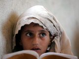 A Small Girl Takes Lessons at the Nangalam High School in Nangalam, Eastern Afghanistan Photographic Print