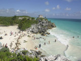 Tourists Enjoy the Beach Near the Mayan Ruins of Noh Hoch Photographic Print by Israel Leal