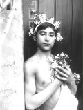 Portrait of a Bare-Chested Sicilian Youth His Head is Crowned with a Flower Garland Photographic Print