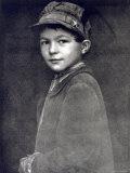 Half-Length Portrait of a Small Working Class Boy in Humble Clothes and Cap Photographic Print