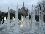 An Ice Sculpture Composition Melts at the Moscow Zoo Photographic Print