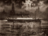 The Translatlantic Liner Conte Verde in the Harbor of New York Photographic Print
