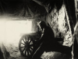 Italian Soldier in a Snow Cave on Monte Nero During World War I Photographic Print