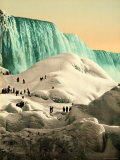 Some People Walk on the Snow, at Their Back, the Niagara's Falls Photographic Print