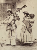 Portrait of a Soldier and Wife Walking, Both in Traditional Peruvian Dress Photographic Print