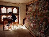 A Student of Traditional Buddhist Art Undergoes a Final Examination Photographic Print