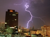 Lightning Flashes in the Sky of Bangkok Photographic Print
