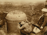 WWI: Soldiers Hidden in a Trench with a Canon Photographic Print