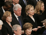 Former President Clinton Sings at a State Funeral Service for Former President Gerald Ford Photographic Print by Ron Edmonds