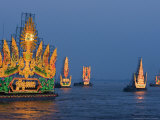 Cambodia's Illuminated Boats Make Their Way Along the Tonle Sap River Photographic Print by Heng Sinith