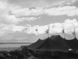 Nomads' Black Tents on the Land of Phari, in the Background the Chomolhari Photographic Print