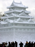 Snow Statue Depicting Japan's Nagoya Castle Photographic Print