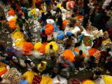 Indian Flower Vendors Sell Flowers at a Wholesale Flower Market Photographic Print by Sucheta Das