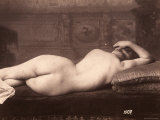 Portrait of a Nude Woman Lying on a Couch with Her Back to the Camera Photographic Print