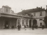 View with People of the Square in Front of the Asti Train Station Photographic Print