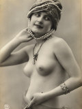 Portrait of a Barebreasted Young Woman, Wearing a Pearl-Decorated Hat Photographic Print