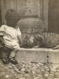 Little Boy Sitting on a Doorstep Next to a Cat Photographic Print
