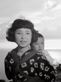 Girl with Her Little Brother on Her Shoulders, Japan Photographic Print