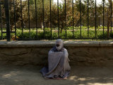 An Afghan Beggar Woman Clad in Burqa Waits to Receive Money in Kabul, Afghanistan, August 3, 2006 Photographic Print by Musadeq Sadeq