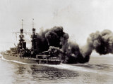 Warship in the Open Seas During an Attack Photographic Print