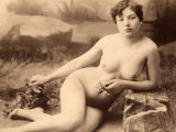 Portrait of a Nude Woman Sitting on the Floor Photographic Print