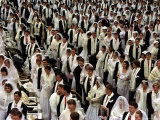 About 20,000 Newlywed People Take Part in the Mass Wedding Ceremony at Seoul's Olympic Satdium Photographic Print