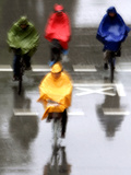 People Ride a Bicycles in the Heavy Rain Photographic Print