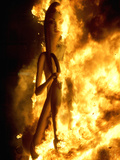 A Falla with Satirical Figures Burns During the Traditional Fallas Festival Photographic Print