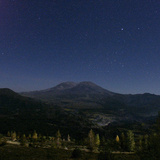 Mount St. Helens is Seen against a Star-Filled Sky Photographic Print