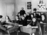 Polish Women are Shown in a Classroom at the Marie Curie School for Girls in Scotland Photographic Print