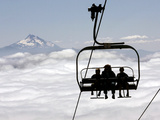 People on the Magic Mile Ski Lift at Timberline Lodge on Mount Hood Photographic Print