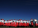 Lesotho Singers Wait to Perform During Ceremonies Held to Commemorate International Aids Day Photographie