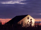 The Shadow of a Witch Looms Large on a Barn at Sunset on Farm Photographic Print