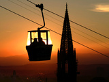 A Couple Sit in a Gondola in Freiburg, Southwestern Germany Photographic Print